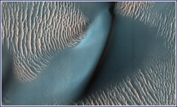 Sand dunes and ripples on Mars viewed from NASA's Mars Reconnaissance Orbiter.