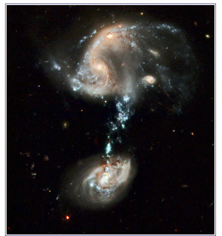 Hubble Space Telescope image of the Arp 194 galaxy system.  Credit: NASA, ESA, and the Hubble Heritage Team (STScI/AURA)