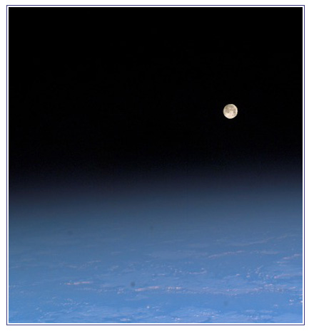 View of the moon from the International Space Station.